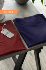( Maroon+ Navy) Bio Wash Cotton Half Sleeve Round Neck Plain Unisex T-shirt (pack of 2) - Stycon