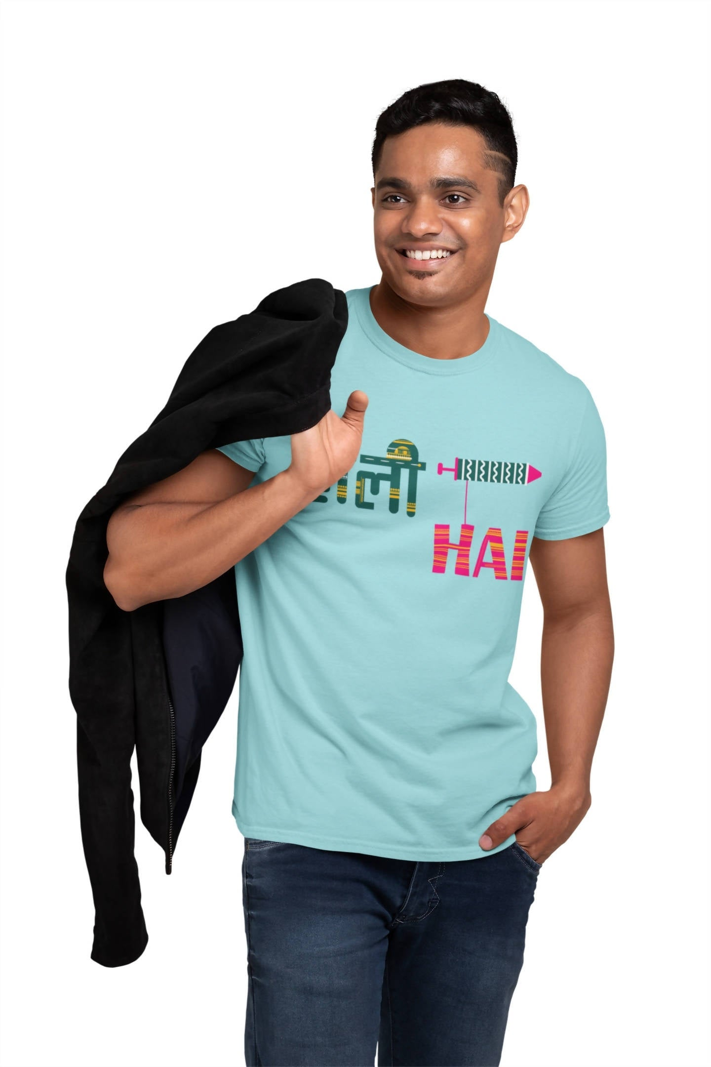 Holi Hai Sky Blue Men Printed T-shirt -STYCON