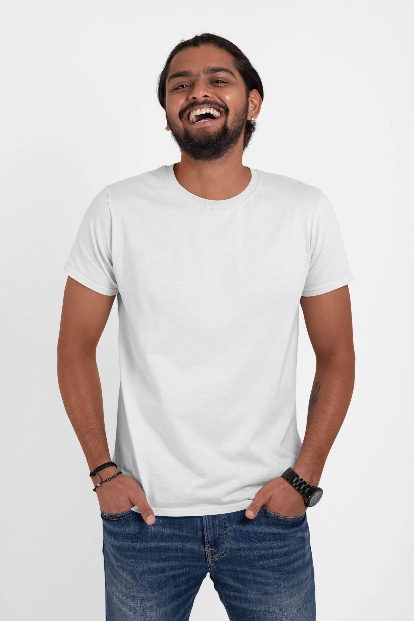 (White+Navy+Blue ) Bio Wash Cotton Half Sleeve Round Neck Plain T-shirt (Pack of 3)
