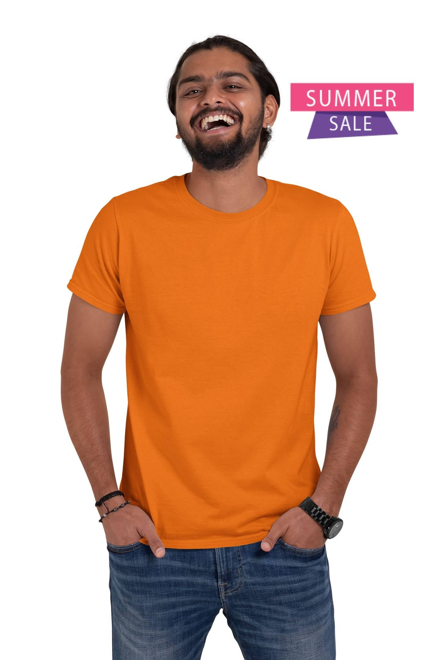 ( Orange ) Half Sleeve Round Neck Plane Unisex T-shirt-Stycon