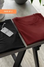 ( Maroon+ Black) Bio Wash Cotton Half Sleeve Round Neck Plain Unisex T-shirt (pack of 2) - Stycon