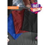 (Black+Maroon+Blue ) Bio Wash Cotton Half Sleeve Round Neck Plain T-shirt (Pack of 3)