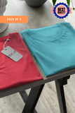 (Sky Blue+ Tomato Red) Bio Wash Cotton Half Sleeve Round Neck Plain Women T-shirt (Pack of 2)
