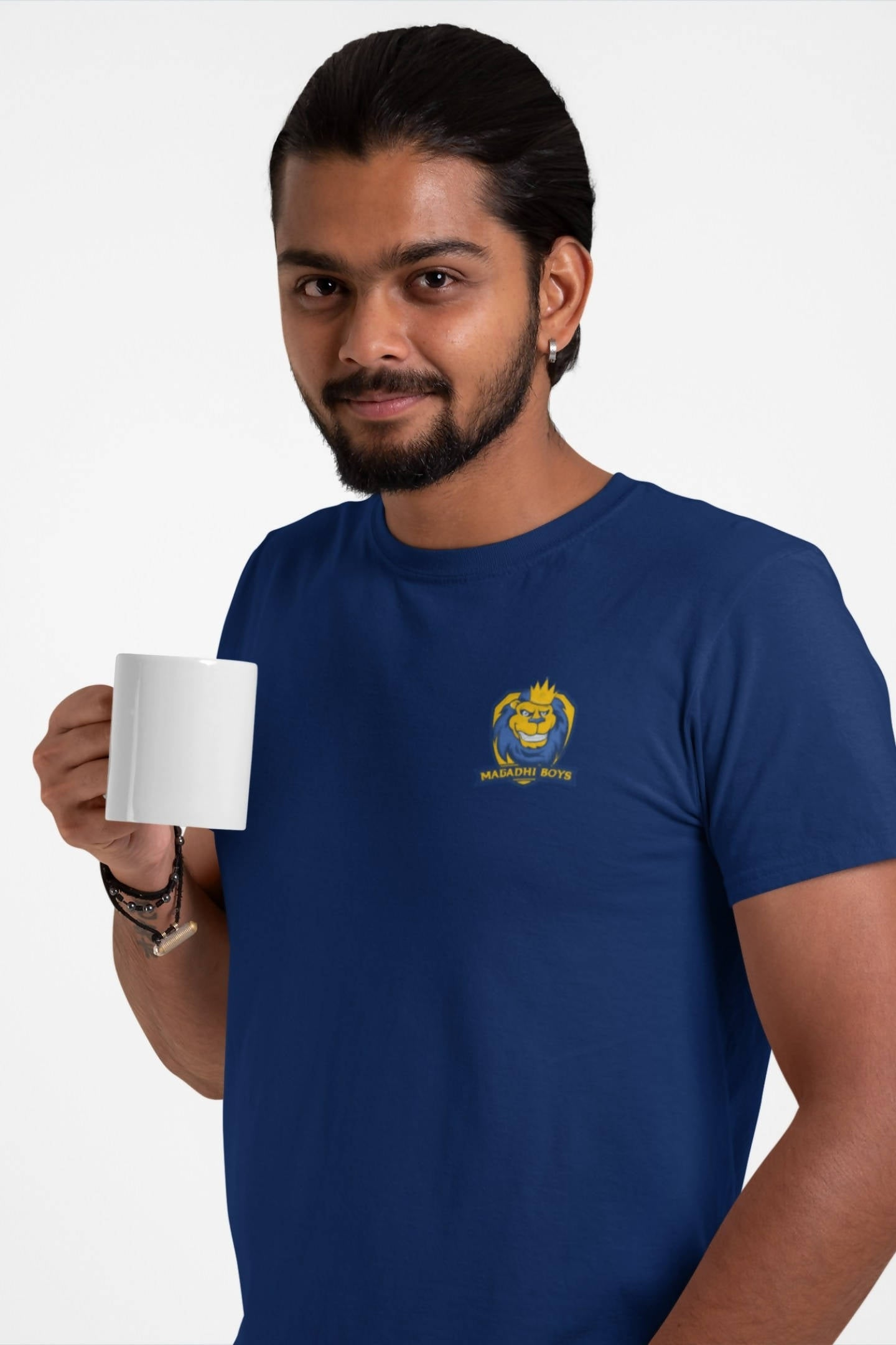 Men's Magadhi Boys Small Logo Printed T-shirt