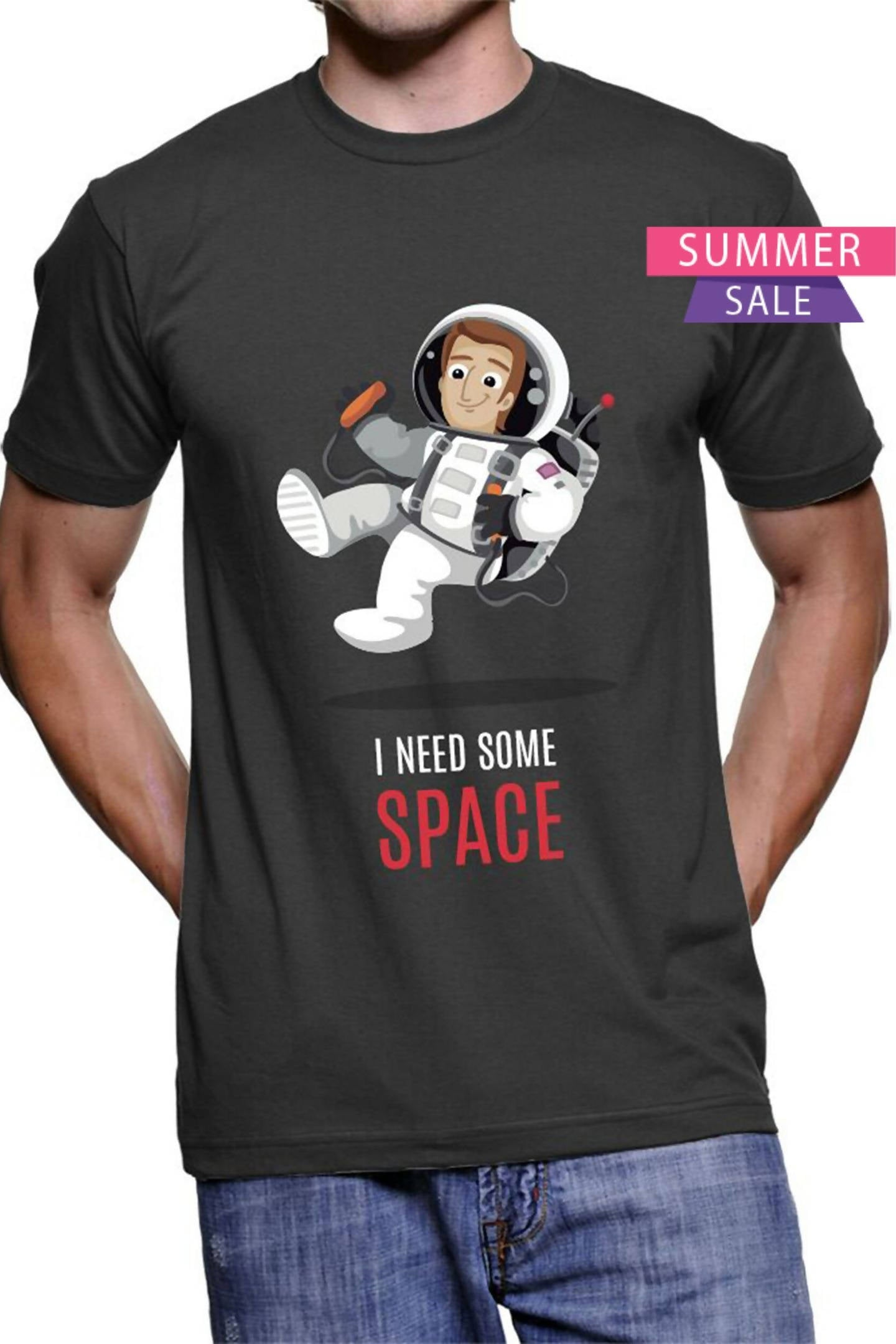 (Black ) Need Some Space - Half Sleeve Round Neck Printed Unisex T-shirt (pack of 2) - Stycon