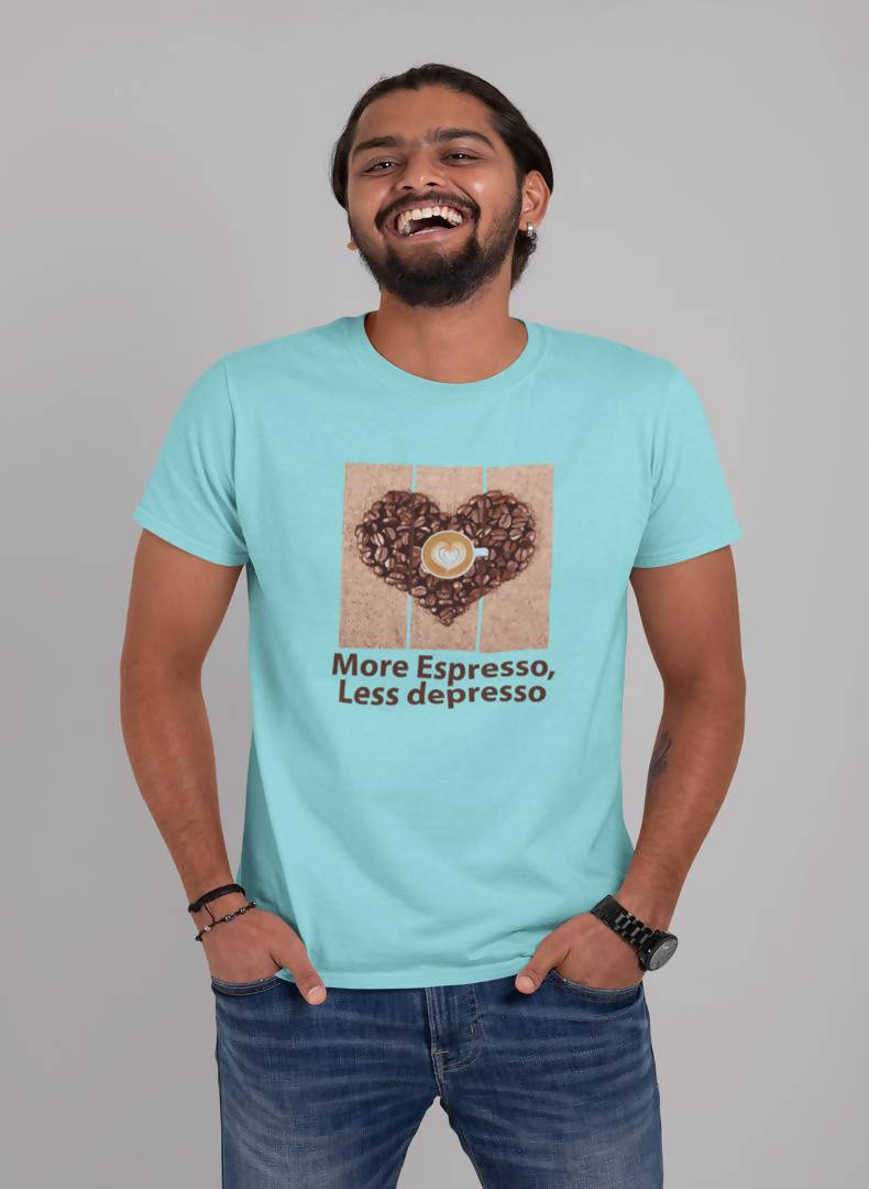 More Espresso Less depresso Printed T-shirt -Delhi Craving