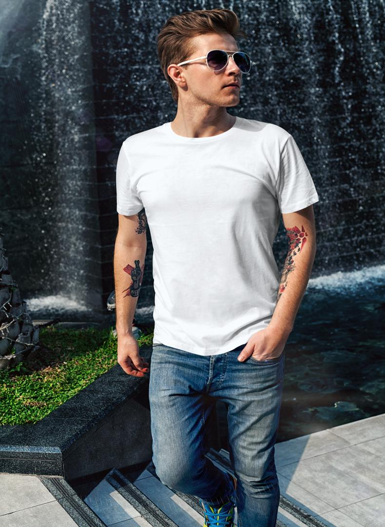 (White) Men's Body Fitting Plain T-shirt -Stycon