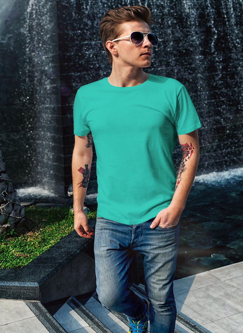 (Aqua Green) Plain Body Fitting T-shirt (Pack of 1) -Stycon