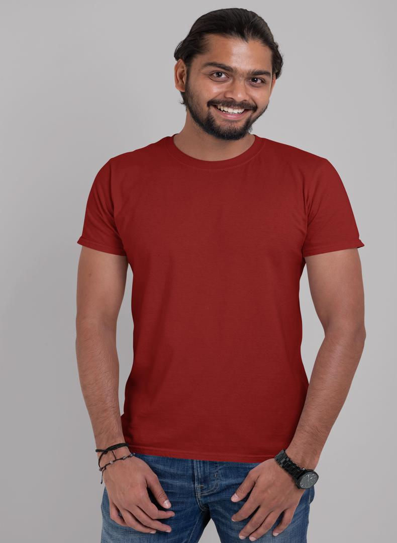 (Maroon ) Plain Body Fitting T-shirt (Pack of 1) -Stycon