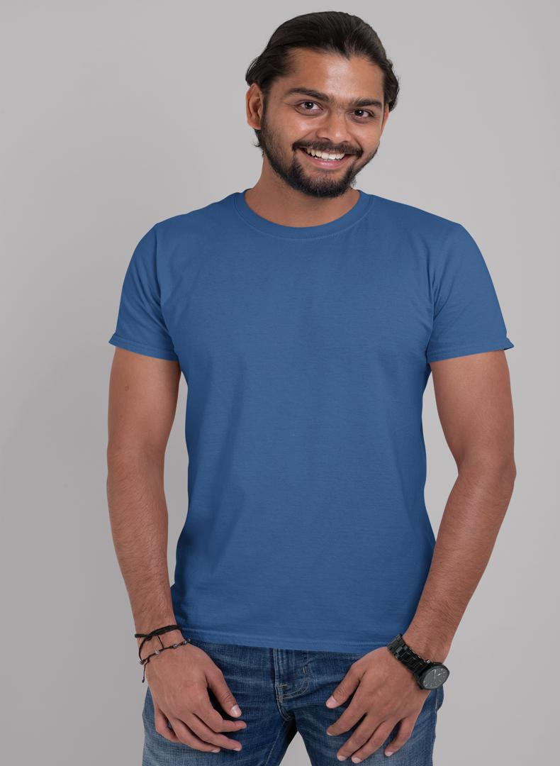 (Galaxy Blue) Plain Body Fitting T-shirt (Pack of 1) -Stycon