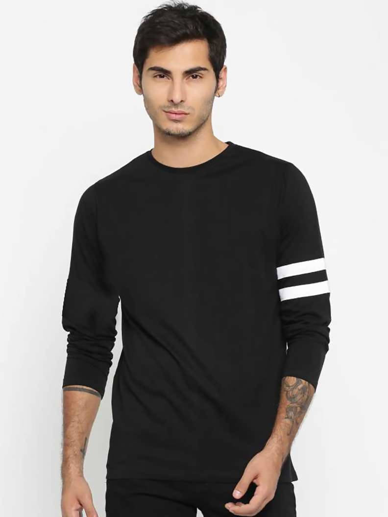 (Black)Solid Men Round Neck Full Sleeve T-Shirt-Stycon