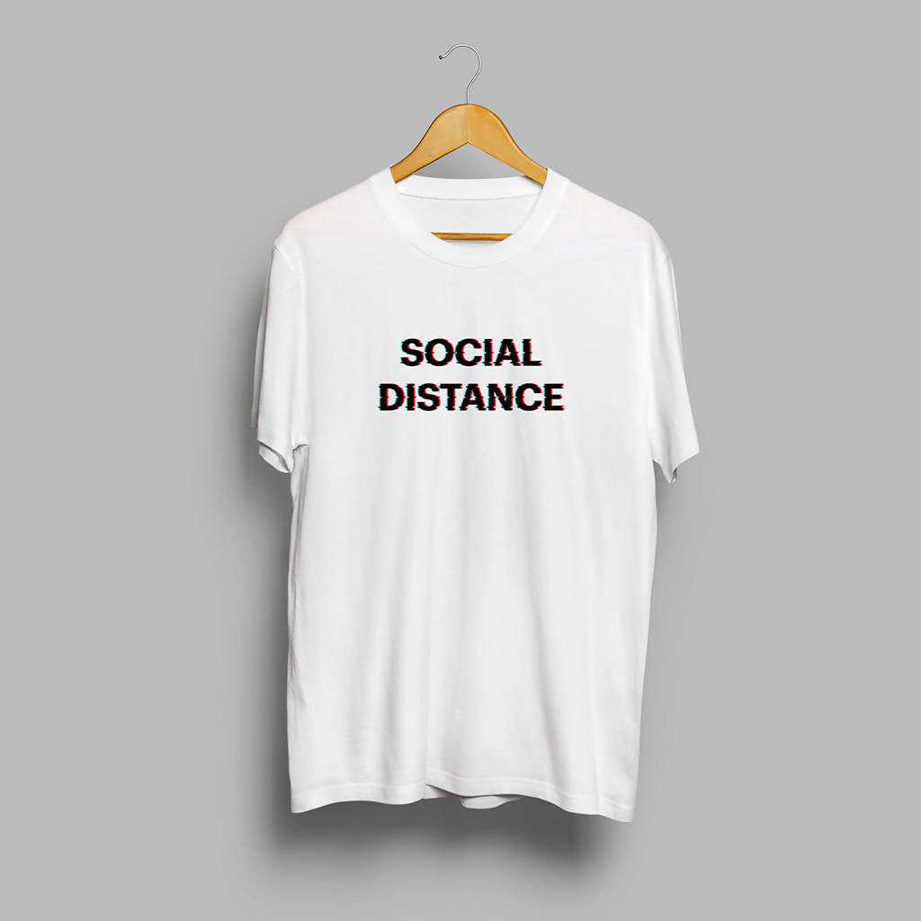 Social Distance Glitch Art Printed T-shirt- GFX Feed