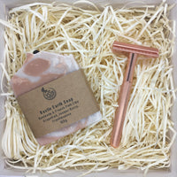Gift Set for Her - Ladies Shaving Soap & Solid Brass Alloy Rose Gold Safety Razor