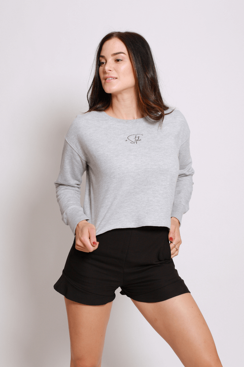 A STYLE Crop Sweater grey - blogger and brands