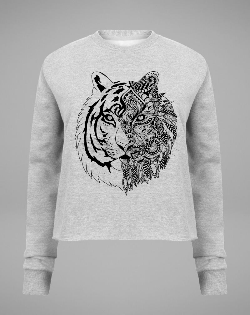 TIGER Crop Sweater - grey with black - blogger and brands