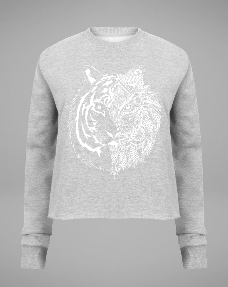 TIGER Cropped Sweater - grey with white