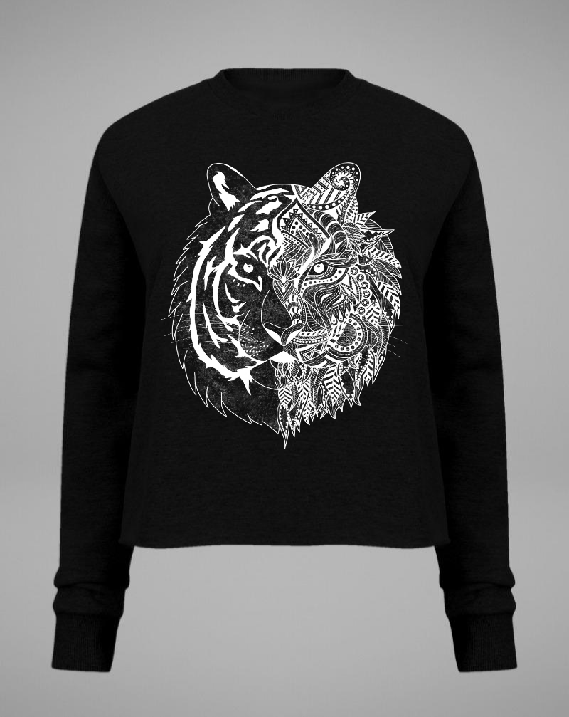 TIGER Crop Sweater - black - blogger and brands