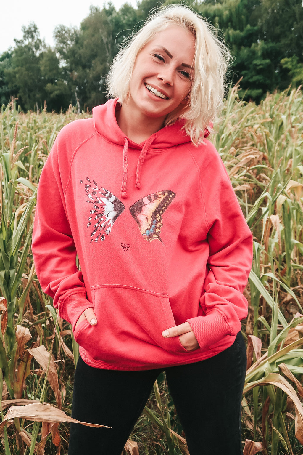 BUTTERFLY color Hoodie - pink