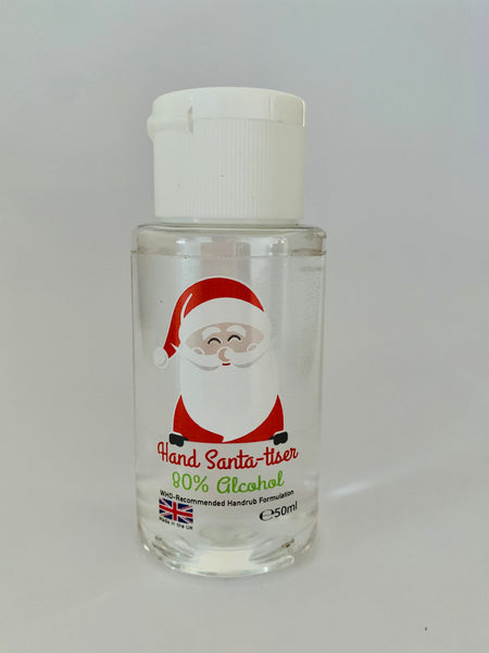 Santa-tiser - 15 Pack - 50ml Hand Sanitiser (80% Alcohol WHO, With Glycerin for Soft Smooth Hands)