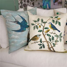 Load image into Gallery viewer, Chimney Swallows Sky Blue Cushion, from John Derian