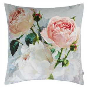 Peonia Grande Zinc Floral Velvet Cushion from Designers Guild
