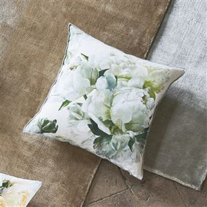 Peonia Chartreuse Floral Linen Cushion, by Designers Guild