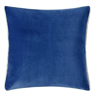 Varese Marine Blue Velvet Cushion, by Designers Guild
