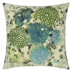 Japonaiserie Azure Green Floral Embroidered Cushion, by Designers Guild