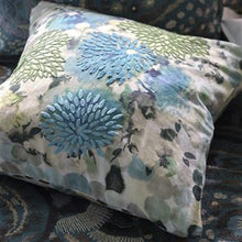 Load image into Gallery viewer, Japonaiserie Azure Green Floral Embroidered Cushion, by Designers Guild