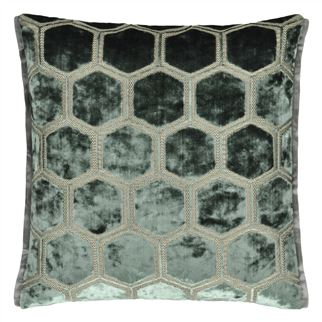 Manipur Jade Velvet Cushion, by Designers Guild