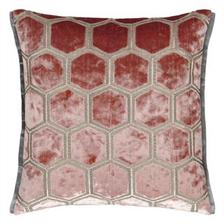 Manipur Coral Velvet Cushion, by Designers Guild