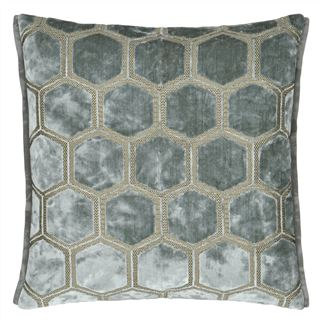 Manipur Silver Velvet Cushion,  by Designers Guild