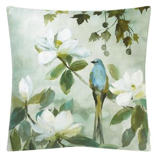 Kiyosumi Celadon Linen Cushion, from Designers Guild