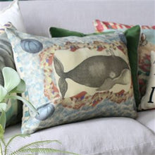 Load image into Gallery viewer, Blue Coral Delft Cushion, John Derian Collection for Designers Guild