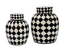 Load image into Gallery viewer, Black and White Harlequin Pot with Lid