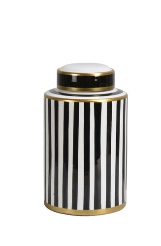 Black and White Stripped Canister, 27.5cm H
