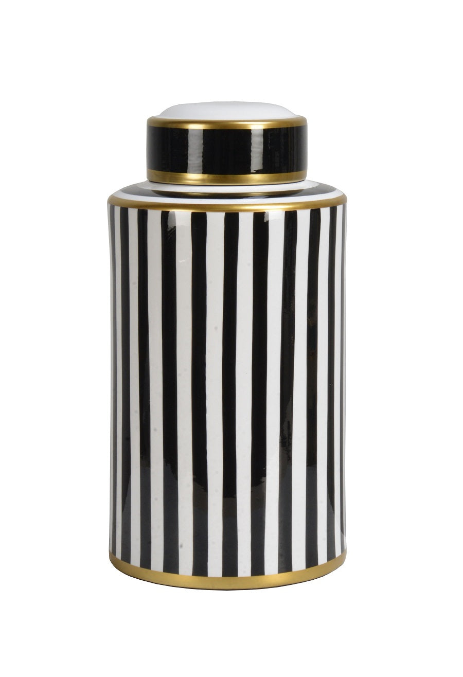 Black and White Canister, 37.5 cm H