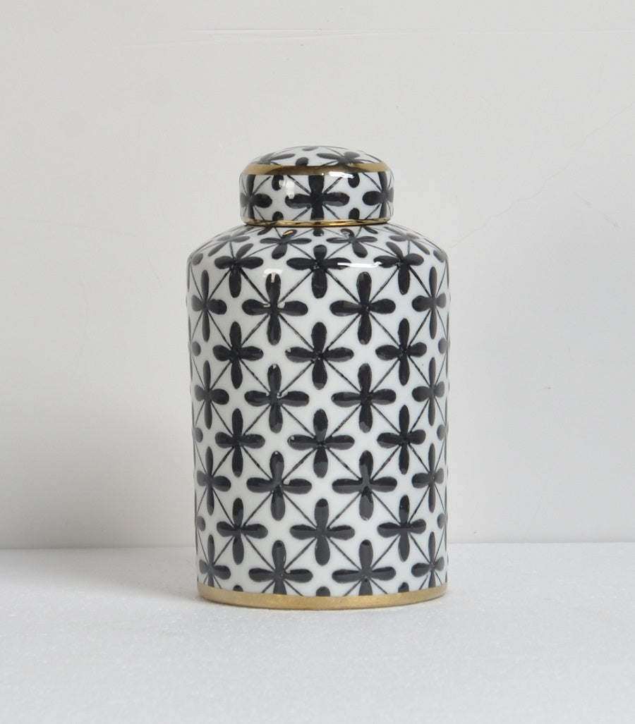 White and Black Porcelain Lidded Jar