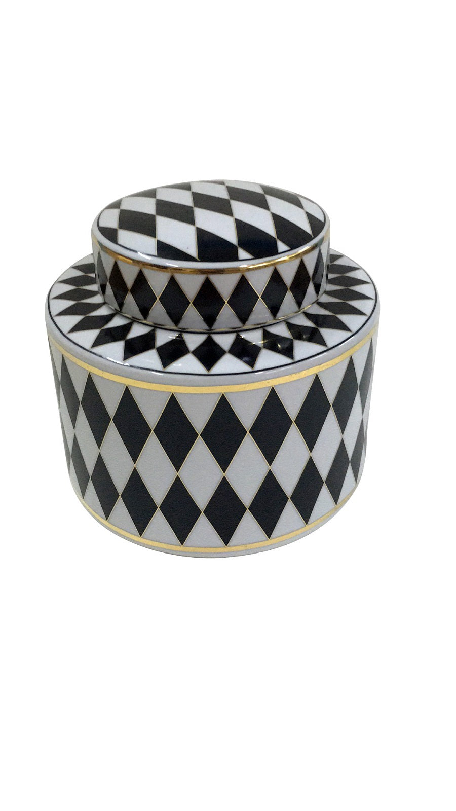 Black and White Harlequin Pot with Lid