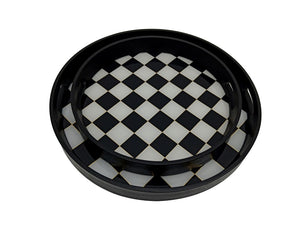 Round Black and White Tray, large