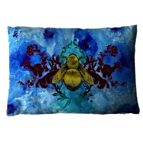 Blue Blotch Bee Cushion Blu Bi Pude