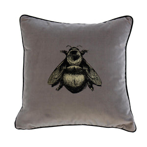 Small Napoleon Bee Grey Velvet Cushion, by Timorous Beasties
