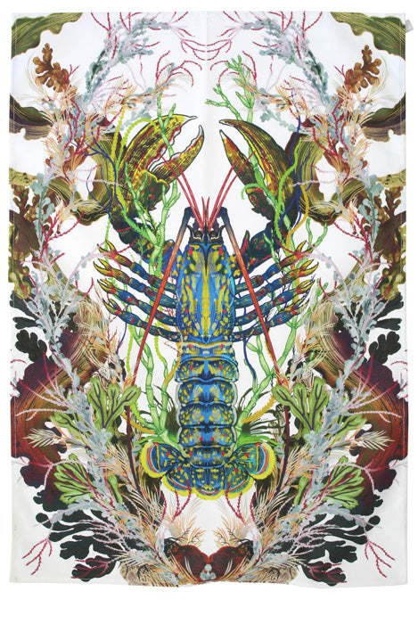 Blue Lobster Tea Towel by Timorous Beasties
