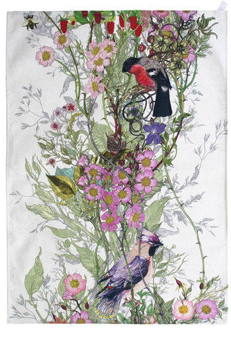 Bullfinch & Waxing Tea Towel by Timorous Beasties