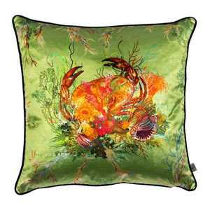 Crab Velvet Cushion, sage by Timorous Beasties