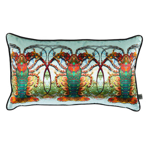 Crustacean Row Velvet Cushion, pale blue, by Timorous Beasties