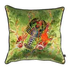 Lobster Velvet Cushion, sage, by Timorous Beasties
