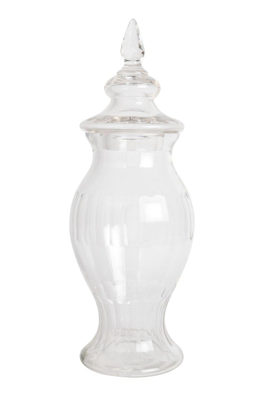 Glass Leaf Jar with Cover