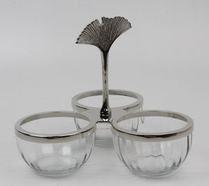 Nut Bowl in glass and nickel, 3 compartments
