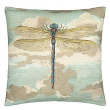 Load image into Gallery viewer, Dragonfly over Clouds Sky Blue Cushion, from John Derian